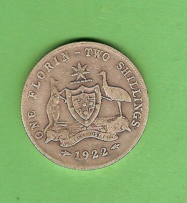 1922  Australian Sterling Silver Florin Two Shilling  Coin
