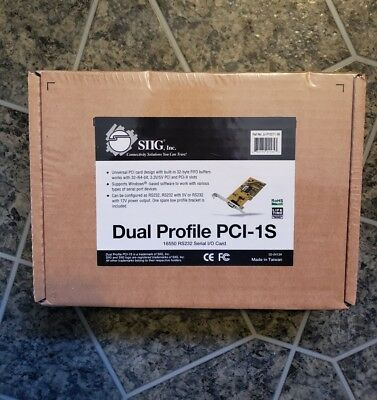 New SIIG Dual Profile PCI-1S 16550 Port RS232 PCI Serial Card JJ-P10211-S6