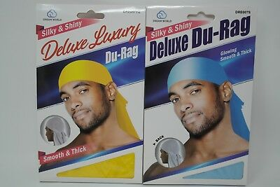 Gold /& Light Blue Smooth /& Thick Set of 2 Shiny /& Silky Deluxe DuRag