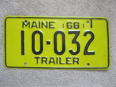 1968 Maine Trailer License Plate 10-032