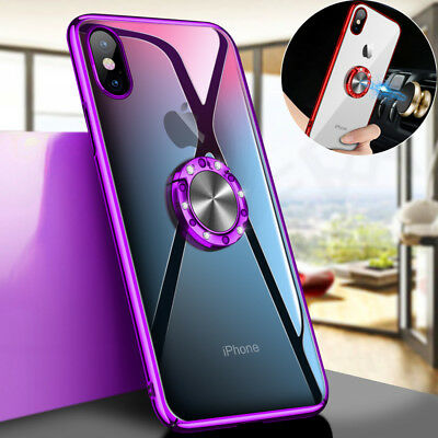 For iPhone 8 X XS Max XR Magnetic Plating Clear Hard Case Cover With Ring Holder