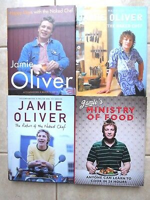 4 x JAMIE OLIVER Cookbooks - All H/covers with D/jackets  In  NEAR NEW CONDITION