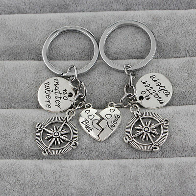 "1Pair Keychain ""No Matter Where"" Friendship Couples Best Friend Compass Charm Z"