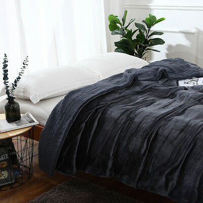 Grey Sherpa Warm Thick Throw Blanket Reversible Cashmere Fuzzy Bed Couch Cover