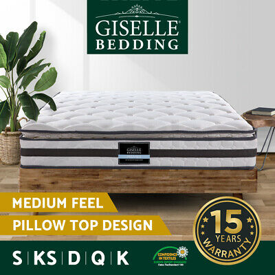 Queen King Single Double Mattress Pillow Top Bed Size Bonnell Spring Foam 21CM