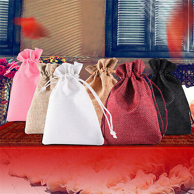 12pcs Burlap Natural Linen Jute Sack Jewelry Pouch Drawstring Gift Bags Xmas New