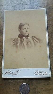 Antique Cabinet Card Photo Cross Eyed Woman Blind? Interesting Baltimore Md Rare