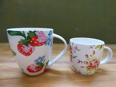 Two Multi Colour Strawberry & Floral Pattern Ceramic Cath Kidston Mugs
