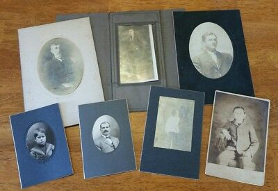 Old Estate Lot of 7 Antique Cabinet Photos Men Young Boys Misc Sizes Victorian