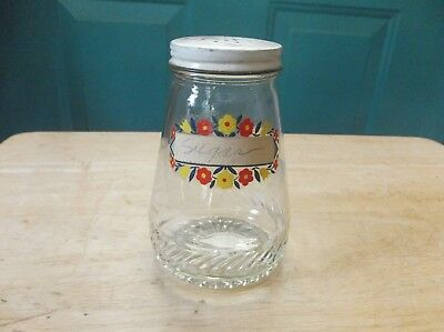 Vintage Clear Glass Sugar Shaker with Metal Lid