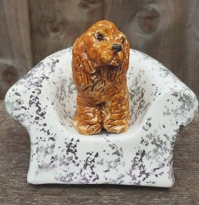 Doreen Pickard, Studio Pottery, Spaniel Dog On Armchair, Signed Certificate 1991
