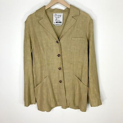 Cheap and Chic by Moschino Jacket Blazer UK Size 12 Cream Linen Evening Button