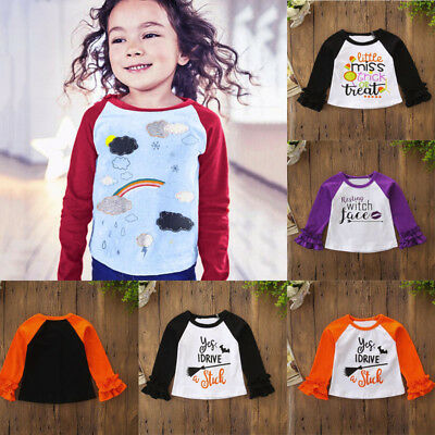 New Infant Kid Baby Girl Long Sleeve Halloween Print T shirt Tops Clothes Outfit