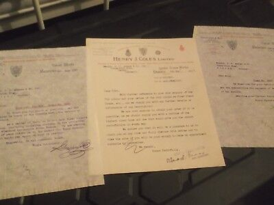 3 X 1927/30 Headed Letters From Contractors To The Admiralty & War Office