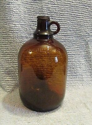 Old Original Brown Amber Glass Gallon Jug w Finger Loop Moonshine Handle FREE SH