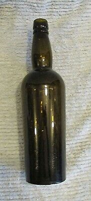 "Antique Green Glass 12"" Tall Bottle Bitters Liquor FREE S/H"