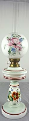 Beautiful Antique Milk Glass Oil Lamp By Kosmos Brenner With Handprinted Designs