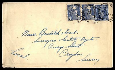 UK France Mixed Franking  1950 CANCELS ON COVER TO CROYDON SURREY