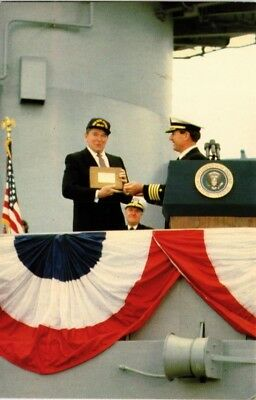 Dr Jim Stamps Us President Reagan Recommissioning Uss New Jersey Naval Postcard
