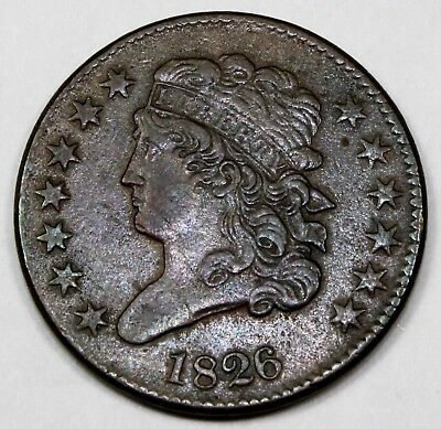 1826 United States One-Half Classic Head Cent / Penny - XF Extra Fine Condition