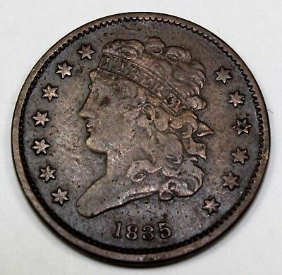 1835 United States One-Half Classic Head Cent / Penny - VF Very Fine Condition