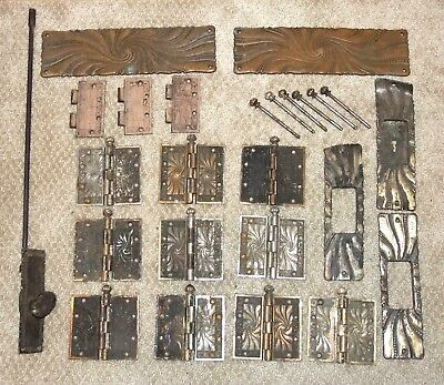 10 Pairs Antique 1890s EASTLAKE VICTORIAN DOOR HINGES + Other MATCHING HARDWARE