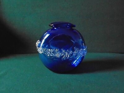 Beautiful Cobalt /  Bristol Blue Art Glass Vase  By Jill Devine (boxed)