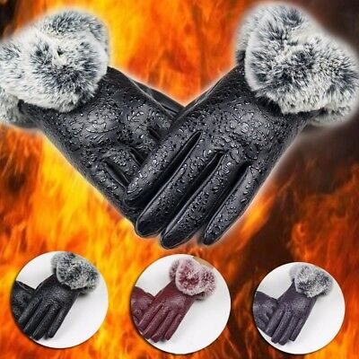 Cool Women Men Winter Warm Leather Driving Soft Lining Gloves Mitten Lovers