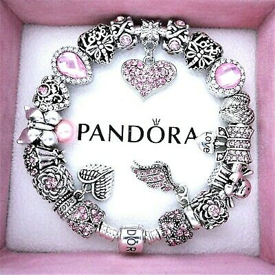 Authentic Pandora Bracelet Silver Charm with MOM ANGEL LOVE European Charms