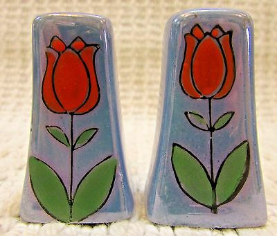 Hand Painted Red Tulip Vintage Japan Small Blue Porcelain Salt Pepper FREE S/H
