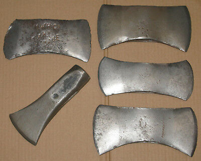 4 Vintage Axe Ax Heads & a Splitting Maul Lot Unmarked MWH Co True Temper PLC