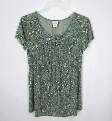 Womens OH BABY MOTHERHOOD Green Paisley Scoop Neck Smocked Top Size Large