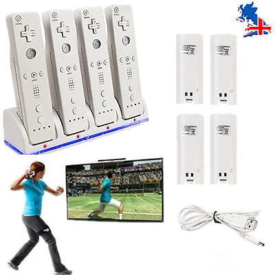 4 Dock Charger Station and 4 Rechargeable Battery for Wii Controller UK SHIP