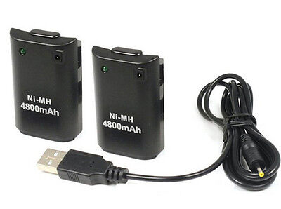 2X 4800mAh Battery Pack+ Charger Cable for Xbox 360 Wireless Controller Black UK