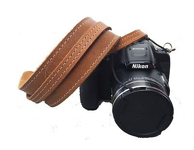 Handmade Leather Camera Strap With Shoulder Pad