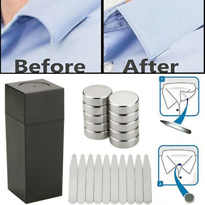 20x Stainless Steel Sliver Metal Shirt Collar Stiffeners Inserts Stays For Men