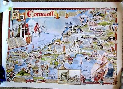 """MAP PRINT COLOURED  """"  CORNWALL ENGLAND """" Antique perfect"""