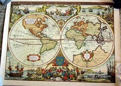 """MAP PRINT colored """"  WORLD MAP """"  PERFECT  Antique"""