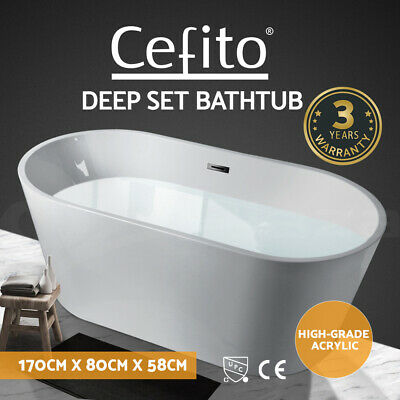 Cefito Bathroom Free Standing Bath Tub Acrylic Gloss White SPA Tub 1700x800x580