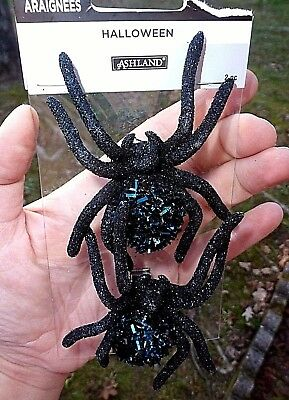 2 Large Black Metal & Blue Tinsel Springy Clip On Spiders Halloween Ornaments