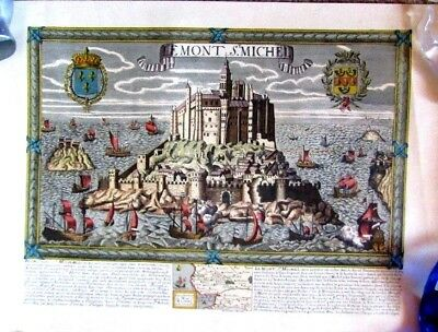 "MAP PRINT ""  LEMONT S.MICHEL "" FRANCE (ST MICHAEL'S MOUNT)   Antique"