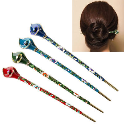 Women Chinese Style Retro Rhinestone Hair Chopsticks Stick Hairpin Chignon Pin