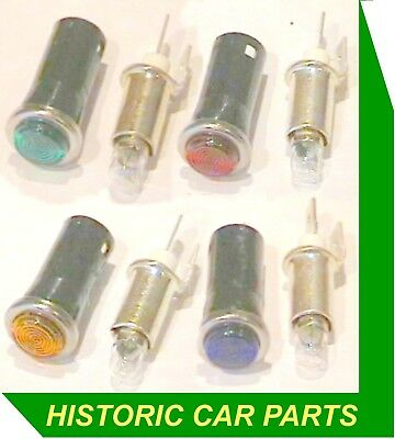 MULTI-COLOURED DASHBOARD WARNING Lamps with 6v Replaceable bulbs 6 Volt