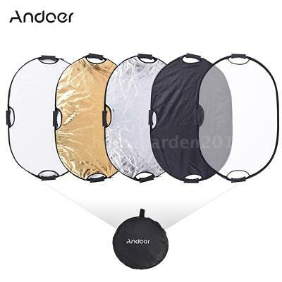 Handheld 90cm 5in1 Light Multi Oval Collapsible Photo Reflector Board Disc G0L4