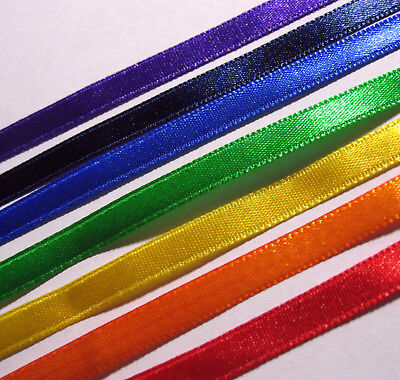 RAINBOW PACK - 7 x 1 Metre lengths of 3mm wide double sided satin ribbon