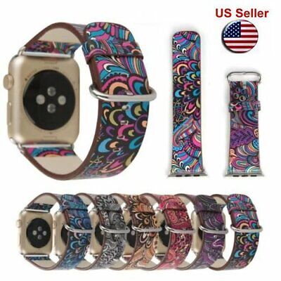 Colorful Leather Band Strap & Adapter for Apple Watch series3 2 1 iWatch 38 42mm