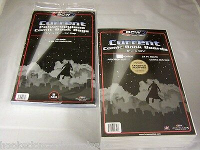 """500 Each BCW Brand 6 7/8"""" Current Modern Comic Book Bags & 6 3/4"""" Backer Boards"""