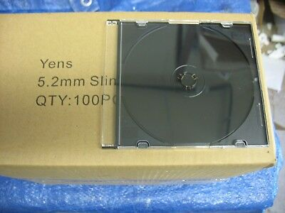 Yens CD Jewel Case Assembled, 5.2 mm Slim Case Black, 100 Piece