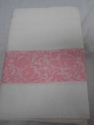 """VINTAGE WHITE DAMASK TABLECLOTH with PINK TULIP FLOWER BORDER 62"""" X 80"""""""