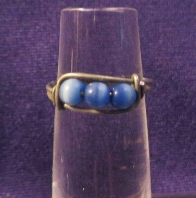 Vintage Silvertone Ring or Band w/ Blue Tiger Eye Beads Size 5